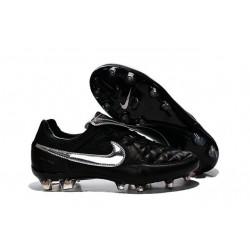 Chaussure de Football Nike Tiempo Legend V FG Pas Cher Totti Premium Argenté Noir
