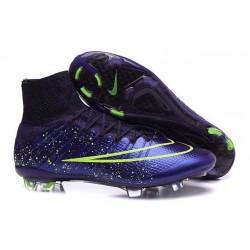 2015 Homme Chaussures Football Mercurial Superfly FG Cuir Vert Violet