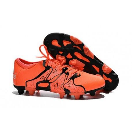 2015 Adidas Chaussures de Foot X 15.1 FG / AG - Crampons Hommes Orange Noir
