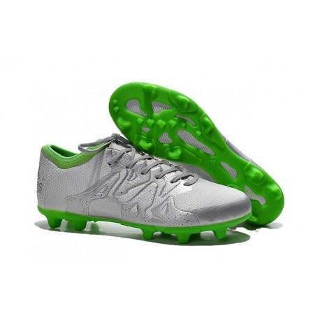 Nouvelles Adidas Chaussures de Foot X 15.1 FG/AG - Argenté Vert