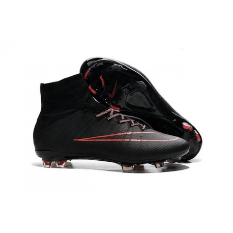 2015 Chaussures Mercurial Superfly IV FG Nouvelle Rouge Noir