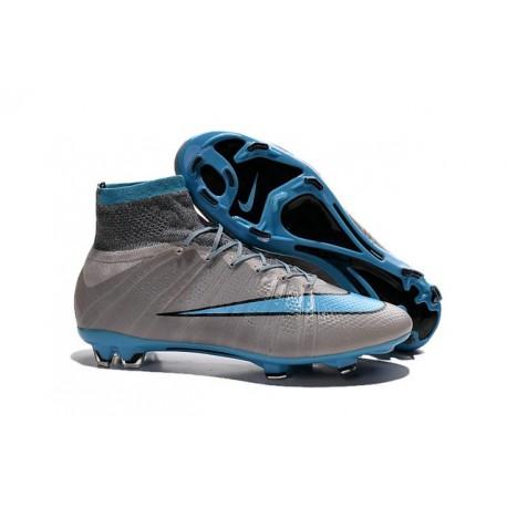 2015 Homme Chaussures Football Mercurial Superfly FG Gris Bleu Noir