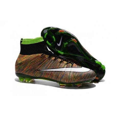 Chaussures Mercurial Superfly IV FG Nouvelle Pas Cher Vert Noir Blanc Multicolore