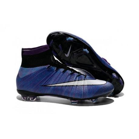Chaussures Mercurial Superfly IV FG Nouvelle Pas Cher Violet Noir Blanc Multicolore