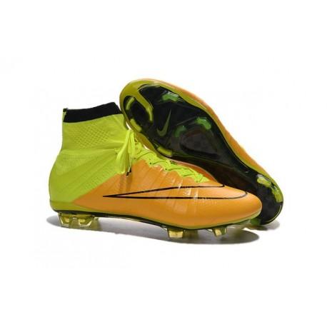 2015 Homme Chaussures Football Mercurial Superfly FG Cuir Jaune Volt Noir