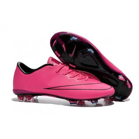 2015 Crampons de Foot Nike Mercurial Vapor X FG Homme Hyper Rose Noir