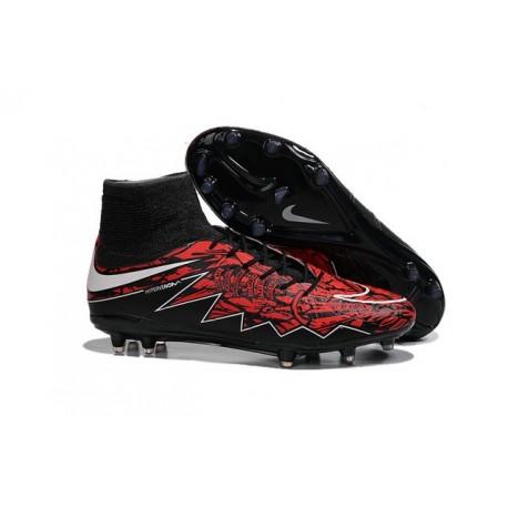 Nouvelles chaussures Nike HyperVenom Phantom II FG Football Crampons Lewandowski Blanc Rouge Noir