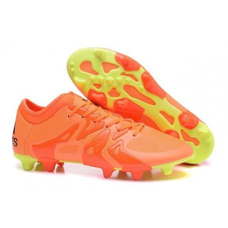 2016 Adidas Chaussures de Foot X 15.1 FG / AG - Crampons Hommes Orange Jaune Noir