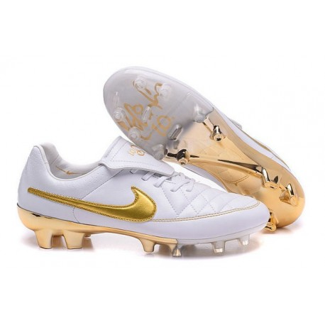 Nouvelle Chaussure de Football Nike Tiempo Legend V FG R10 Blanc Or