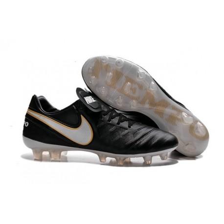 Nouveau Nike Crampons de Football Tiempo Legend VI FG Noir Blanc Or
