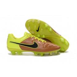 Chaussure de Football Nike Tiempo Legend V FG Pas Cher Beige Noir Volt