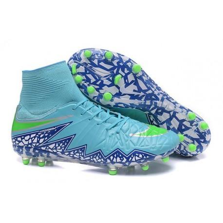Hommes Nike HyperVenom Phantom II FG Chaussures de football ACC Bleu Vert Blanc