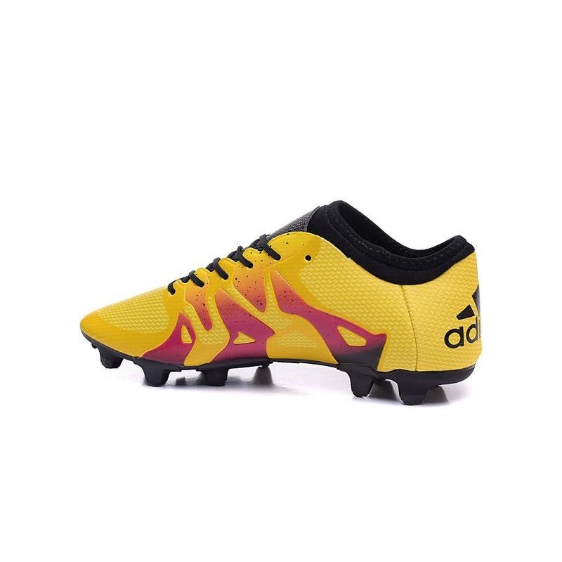 newest 4a246 fc18d Nouvelles Adidas Chaussures de Foot X 15.1 FG AG - Menace Pack Jaune Rouge  Noir