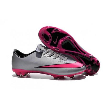 Chaussures de Football Nike Mercurial Vapor 10 FG Gris Loup Hyper Rose Noir