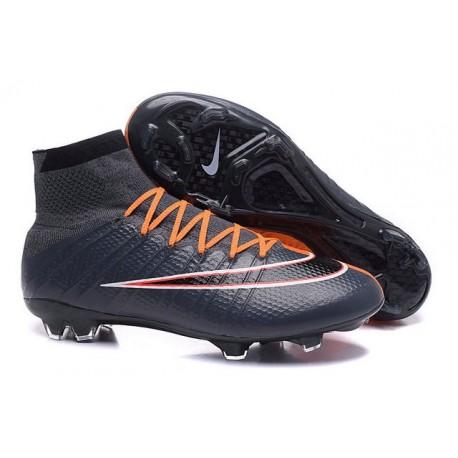 Chaussures Mercurial Superfly IV FG Nouvelle Pas Cher Noir Orange Blanc