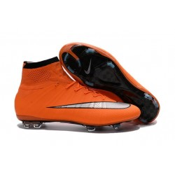 2016 Homme Chaussures Football Mercurial Superfly FG Orange Argenté Noir