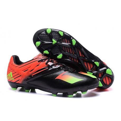 2016 Chaussures de football Adidas Messi 15.1 FG Noir Vert Rouge
