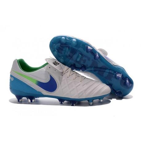Nouveau Nike Crampons de Football Tiempo Legend VI FG Blanc Bleu Vert