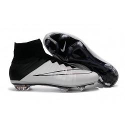 Chaussures Mercurial Superfly IV FG Nouvelle Pas Cher Blanc Noir Cuir
