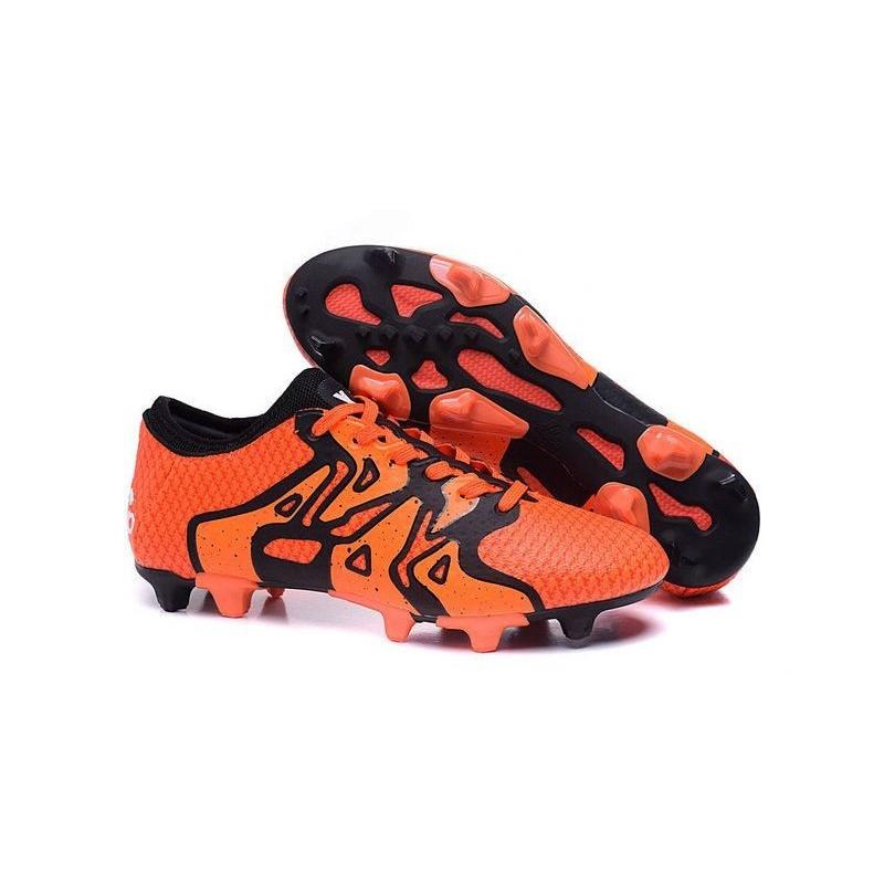 new style c3dfa 851a0 2016 Adidas Chaussures de Foot X15+ Primeknit FG AG Orange Solaire Noir  Orange Crampons Hommes