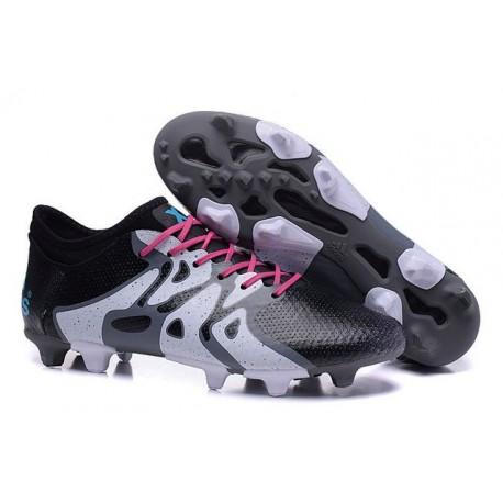 Nouvelles Adidas Chaussures de Foot X15+ Primeknit FG/AG Noir Blanc Bleu Rose