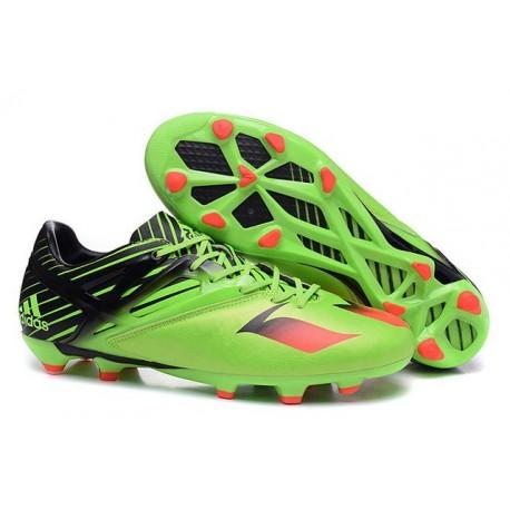 Nouveau Crampous Foot Adidas Messi 15.1 FG Homme Vert Noir Rouge