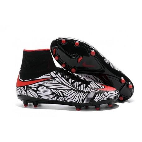 Nouvelles chaussures Nike HyperVenom Phantom II FG Football Crampons Noir  Rouge  Blanc