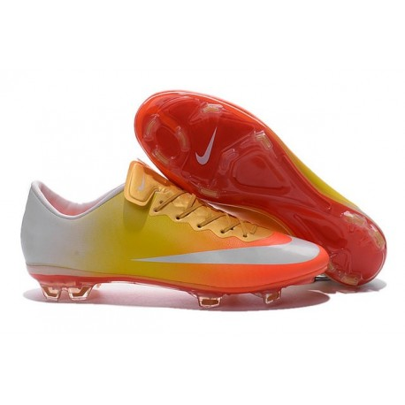2016 Crampons de Foot Nike Mercurial Vapor X FG Homme Orange Jaune Or Blanc