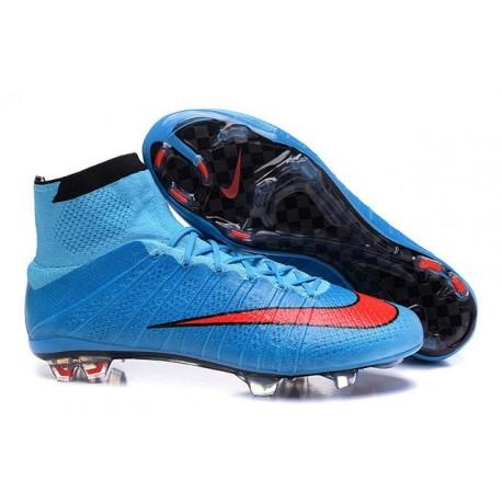 Chaussures Mercurial Superfly IV FG Nouvelle Pas Cher Bleu Rouge Noir