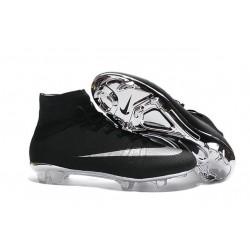 Chaussures Mercurial Superfly IV FG Nouvelle Pas Cher Argenté Noir