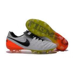 Nouveau Nike Crampons de Football Tiempo Legend VI FG Blanc Noir Orange Total Volt
