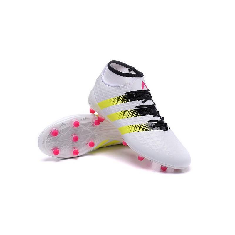 buy popular 198e5 40a44 Chaussures de Football Hommes - adidas ACE 16.1 Primeknit FG AG Rose Jaune  Noir Blanc
