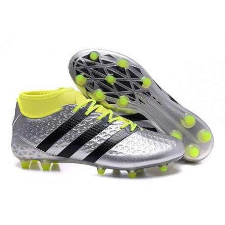 Chaussures de Football Hommes - adidas ACE 16.1 Primeknit FG/AG Noir Argenté Volt