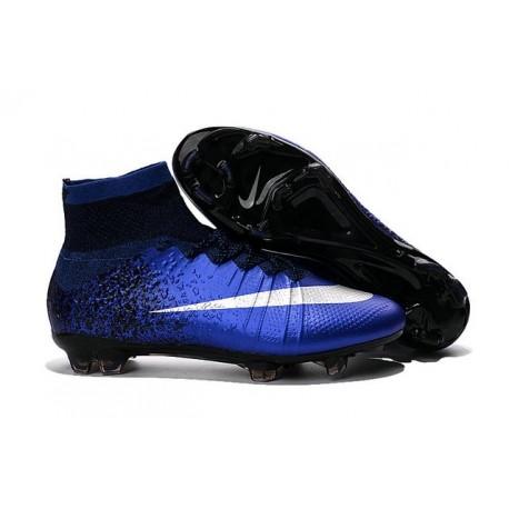2016 Homme Chaussures Football Mercurial Superfly FG Bleu Royal Argent Bleu