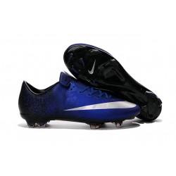 2016 Crampons de Foot Nike Mercurial Vapor X FG Homme Bleu Royal Argent Noir