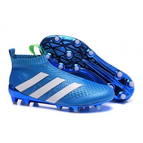 2016 Adidas Ace16+ Purecontrol FG/AG Chaussures de Football Bleu Blanc