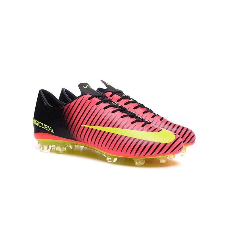 low priced e2277 64043 Chaussures pour hommes - Nike Mercurial Vapor 11 FG Crampons de Football  Rose Volt Noir