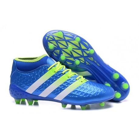 Chaussures de Football Hommes - adidas ACE 16.1 Primeknit FG/AG Bleu Vert Blanc