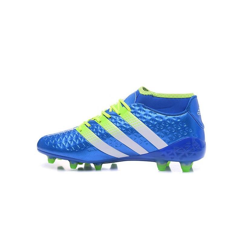 best website 1ed50 2a48f Chaussures de Football Hommes - adidas ACE 16.1 Primeknit FGAG Bleu Vert  Blanc