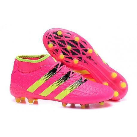 Chaussures de Football Hommes - adidas ACE 16.1 Primeknit FG/AG Rose Noir Jaune