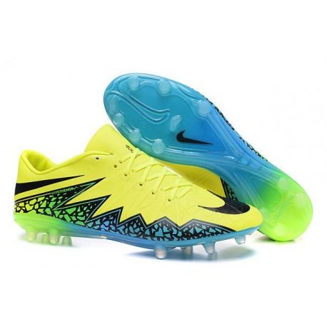 Nouvelle Chaussure Homme Nike Hypervenom Phinish FG Volt Noir Hyper Turquoise
