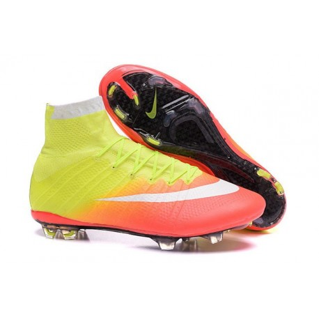 2016 Homme Chaussures Football Mercurial Superfly FG Jaune Orange  Blanc Noir