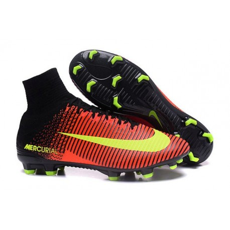 2016 Homme Chaussures Football Mercurial Superfly V FG Carmin Volt Rose