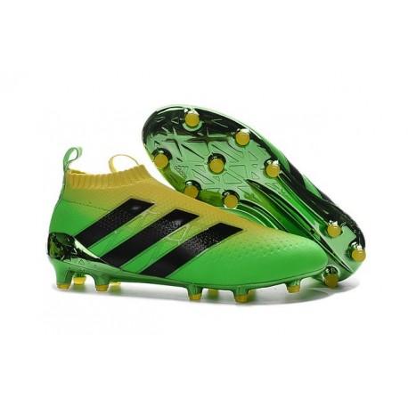 2016 Adidas Ace16+ Purecontrol FG/AG Chaussures de Football Solar Vert Jaune Noir - Jeux Olympiques Brésil