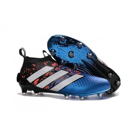 2016 Adidas Ace16+ Purecontrol FG/AG Chaussures de Football Paris Pack - Bleu Rouge Noir Blanc