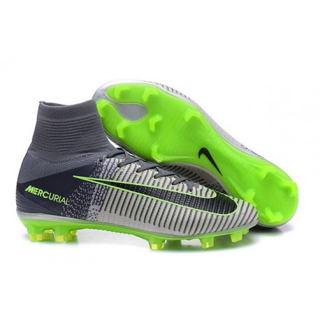 Chaussures Football Mercurial Superfly V FG 2016 Crampons pour Homme Gris Noir Vert