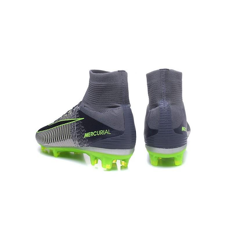 df451ac7aebb27 Chaussures Football Mercurial Superfly V FG 2016 Crampons pour Homme Gris  Noir Vert