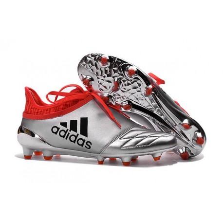2016 Adidas X 16+ Purechaos FG/AG pour Homme Argent Noir Rouge