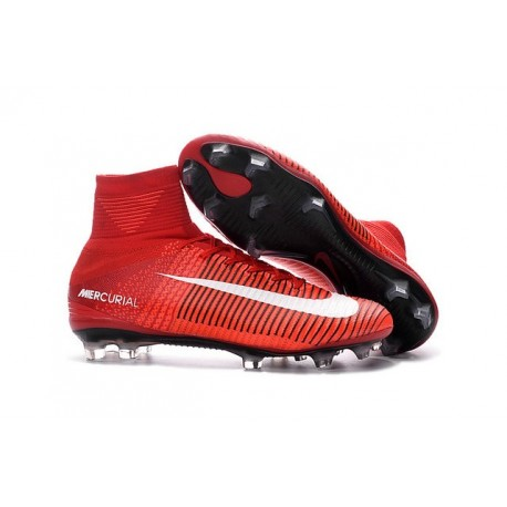 Chaussures Football Mercurial Superfly V FG 2016 Crampons pour Homme Rouge Blanc Noir
