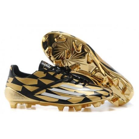Nouveau Crampous Foot Adidas F50 Adizero Messi TRX FG Homme Noir Or Blanc